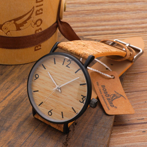BOBO BIRD NEW Women's Vintage Design Brand Luxury Wooden Bamboo Watch With Real Leather