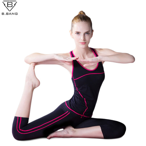 NEW 2017 Women Sport Yoga Sets Vest Pants Suits for Workout Running Fitness Training