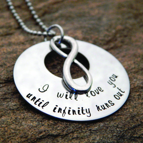 Personalized Quote Necklace with Infinity Charm
