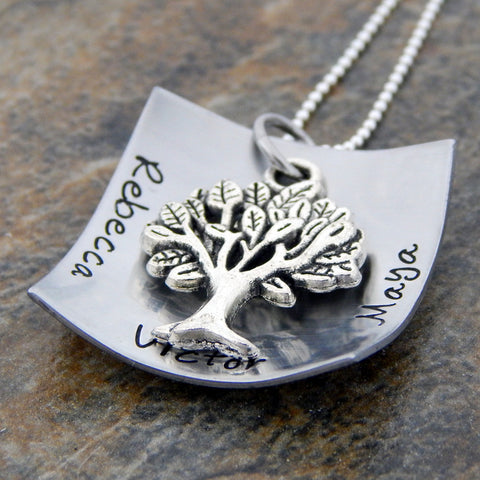 Personalized Name Necklace with Tree Charm