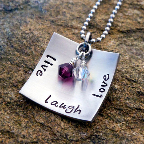 Personalized Jewelry - Sterling Silver Live Laugh Love Necklace