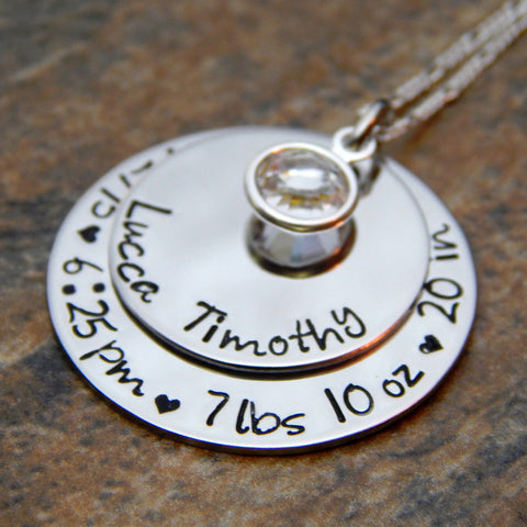 birth stats necklace