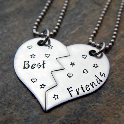 Personalized Necklace Set  - Zig Zag Heart Necklace