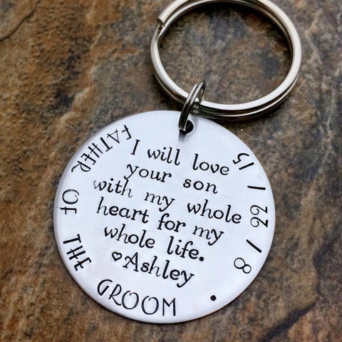 father of the groom gift personalized keychain