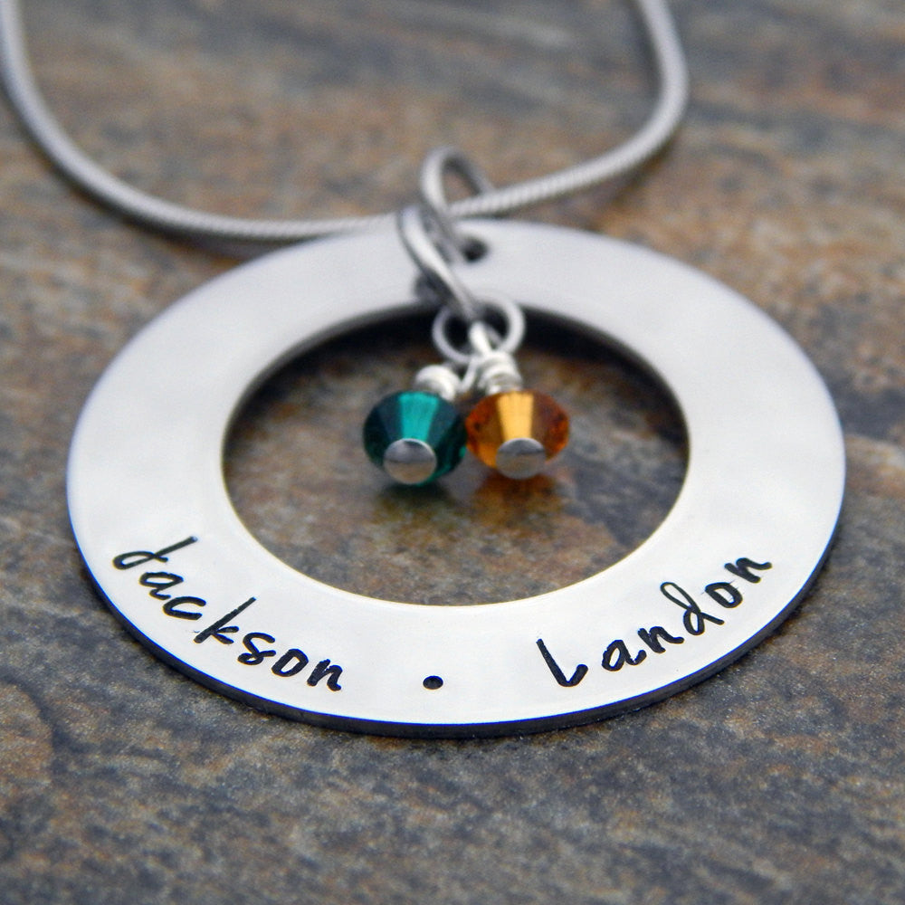 Mom Personalized Necklace with Names and Birthstones