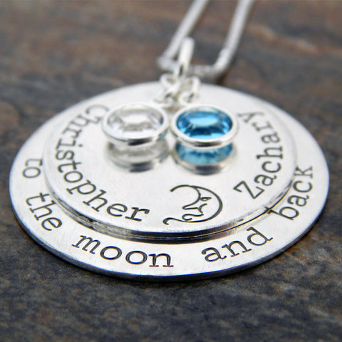 Mom Necklace with Kids Names Birthstones - To The Moon and Back Sterling Silver