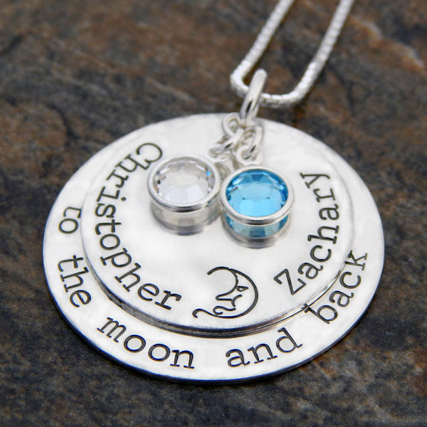 sterling silver to the moon and back necklace
