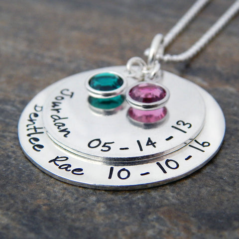 Sterling Silver Mother's Necklace with Kids Names and Channel Drop Birthstones