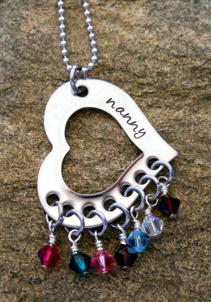 grandmother birthstone necklace hand stamped