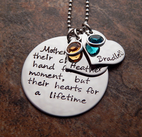 mothers hold their children's hands for a moment necklace
