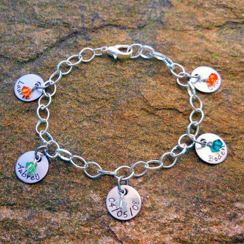 Personalized Birthstone Bracelet with Name Charms - Mother's Bracelet