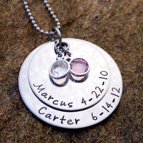 personalized mother's necklace with kids names and birthdates