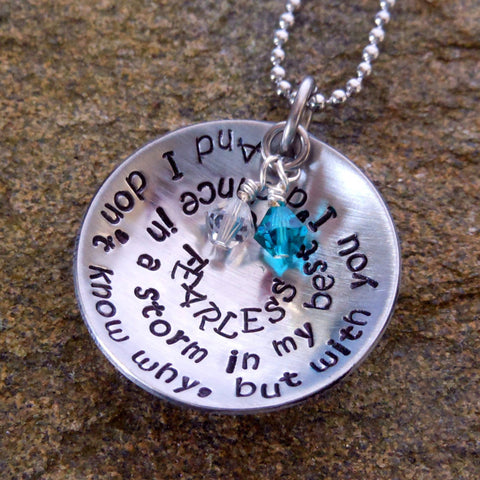 Personalized Quote Necklace Cupped with Birthstones