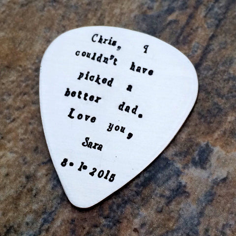 Personalized Guitar Pick - Sterling Silver - Custom Quote