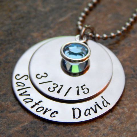 name and birthdate necklace