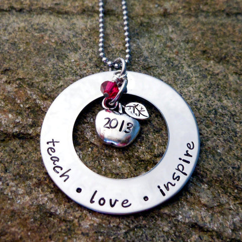 Teach, Love, Inspire - Personalized Necklace with Apple Charm and Wire Wrapped Stone