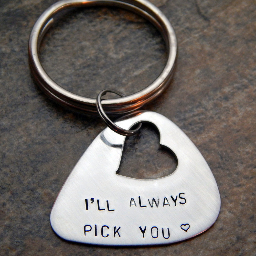 Personalized Guitar Pick Keychain - Hand Stamped - I'll always pick you