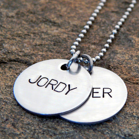 Personalized Mother's Necklace - Hand Stamped Name Discs Sterling Silver