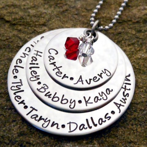 hand stamped grandmother necklace