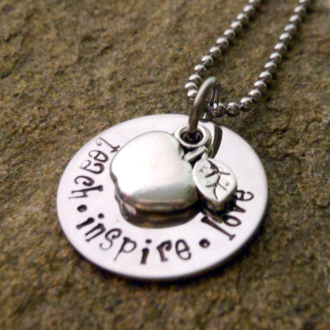 Teach, Inspire, Love - Necklace with Apple Charm