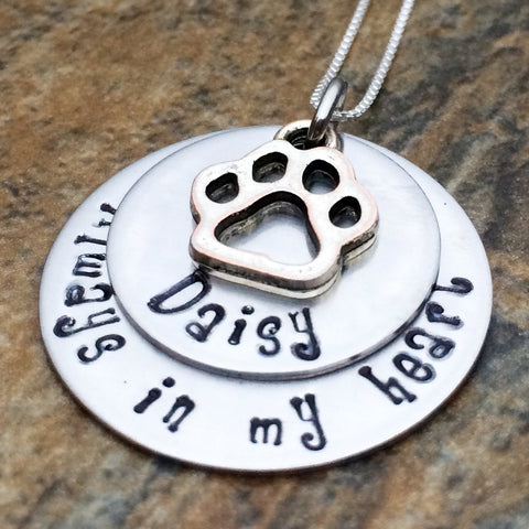 Personalized Necklace with Paw Print Charm - Always In My Heart