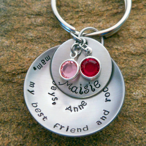 Personalized Keychain - Spiraled Quote with Name Disc and Birthstones
