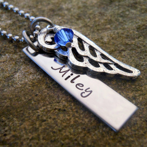 Personalized Memorial Necklace Name with Angel Wing and Birthstone
