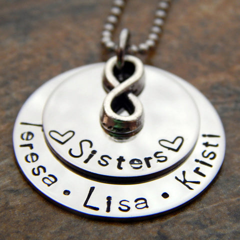 Sisters Jewelry - Personalized Name Necklace with Infinity Charm