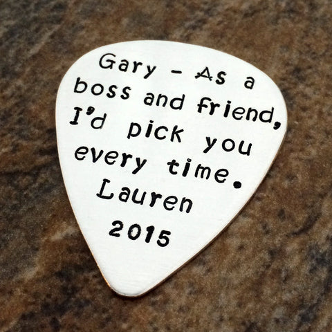 Personalized Guitar Pick - Sterling Silver - Custom Message