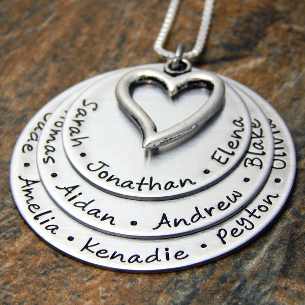 Personalized Grandmother's Necklace | Names with Heart Charm