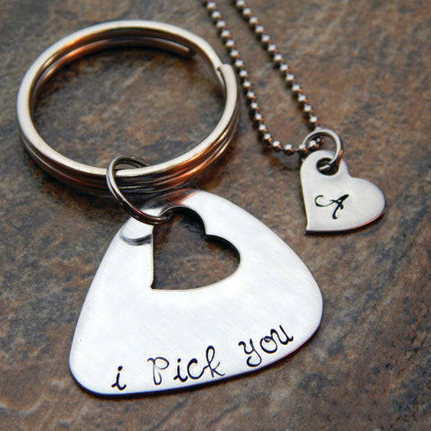 Personalized Set - Keychain and Necklace Set - I pick you - Initial Heart