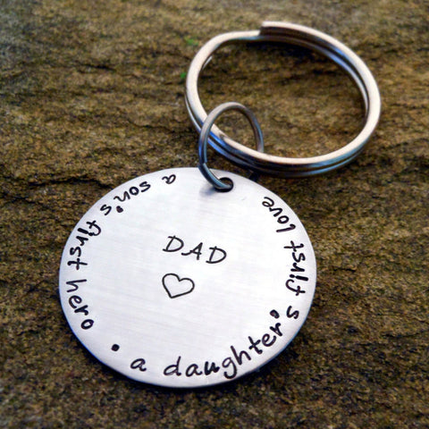 A son's first hero, A daughter's first love custom dad keychain