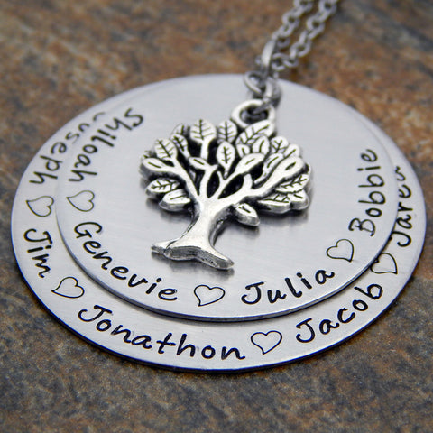 family tree necklace with names