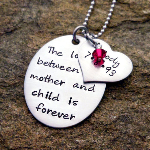 The love between mother and child is forever Necklace with Name and Birthstone