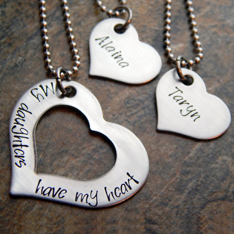 Personalized Heart Necklace Set - Mother Daughter Necklaces