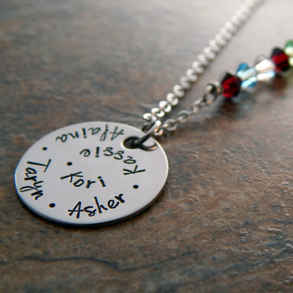 Personalized Mother's Necklace with Birthstones in Chain
