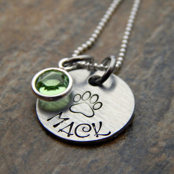 Personalized Sterling Silver Necklace with Paw Print and Channel Drop Stone