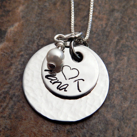 Personalized Gift for Her, Hand Stamped Sterling Silver Necklace