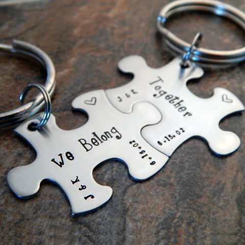 Personalized Couple's Keychains - Puzzle Piece Keychains