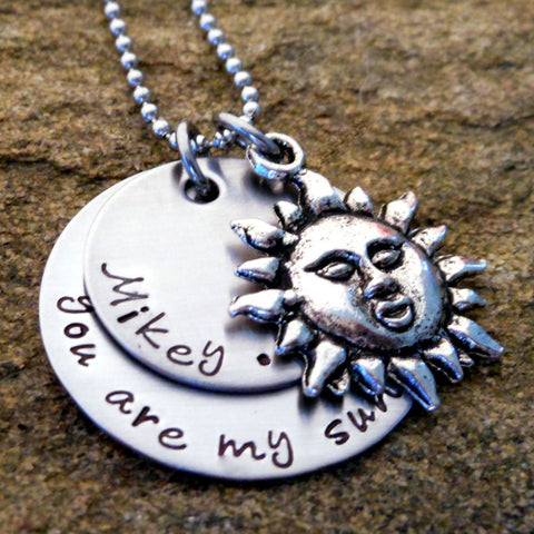 Personalized You Are My Sunshine Necklace with Children's Names