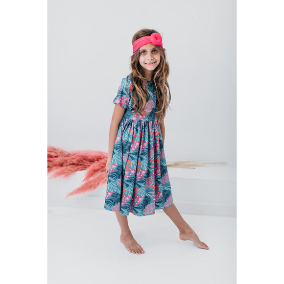 Totally Tropical Short Sleeve Twirl Dress