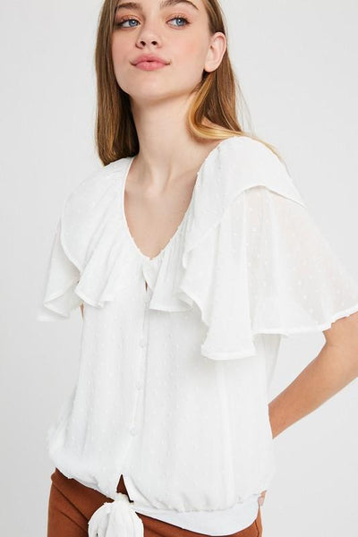 RUFFLE BUTTON DOWN TOP