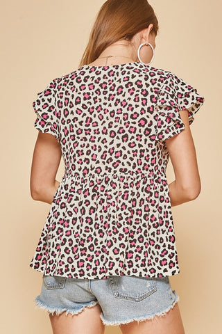 FLUTTER SLEEVE LEOPARD TOP