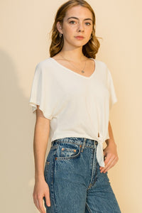 CROPPED FRONT TIE TOP