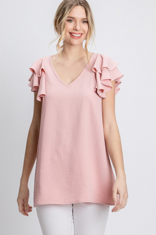 TWO TIERED FLUTTER SLEEVE TOP
