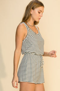 STRIPED SLEEVELESS ROMPER