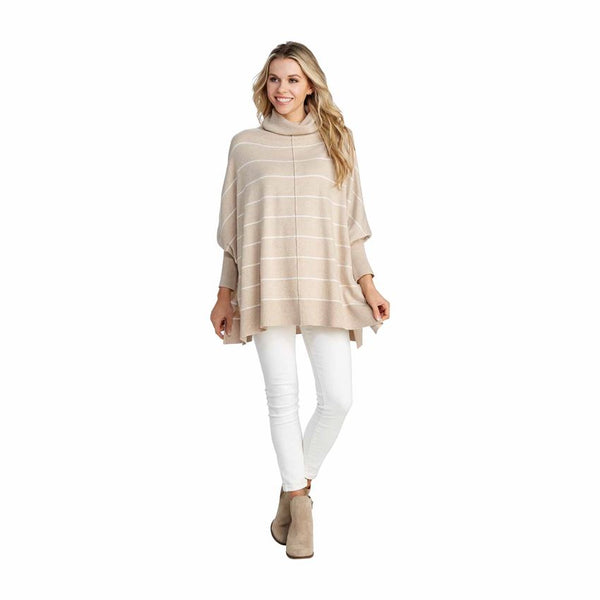 ALINA STRIPED TURTLENECK TAN