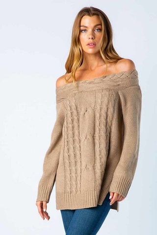 BRAIDED OFF SHOULDER SWEATER