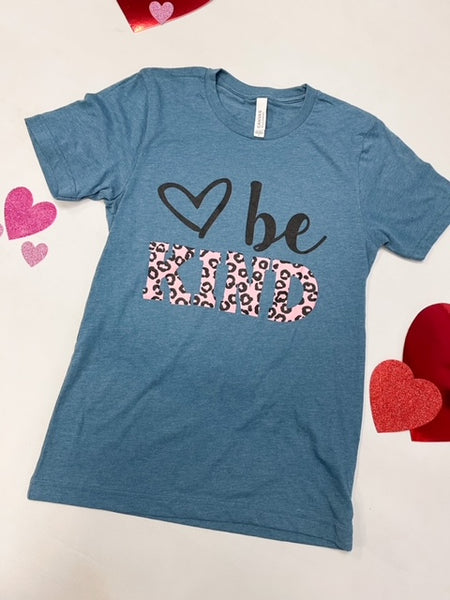 LEOPARD HEART BE KIND TEE
