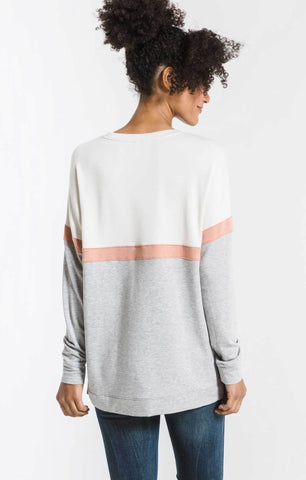 COLOR BLOCK LONG SLEEVE TOP
